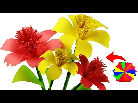 [DIY] Paper Hibiscus Rosa-Sinensis Flower Stick | Easy origami | Making Paper Flowers Step by Step
