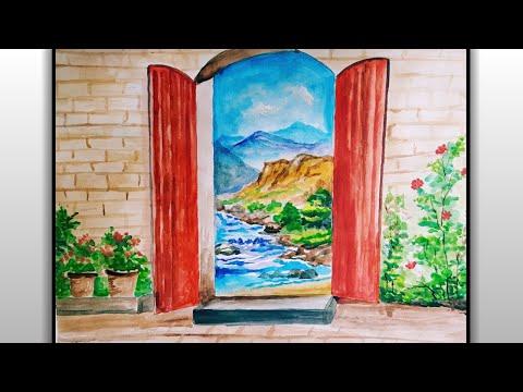 Easy Watercolor Door and Lake Painting For Beginners – Step by Step Door Painting Tutorial – Easy