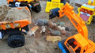 Excavator Dump Truck Construction Fire Truck Find Animals & Cars Toys In Sand