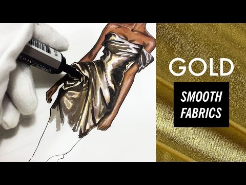 GOLD FABRIC: SMOOTH TEXTURES. Marchesa | Fashion Drawing