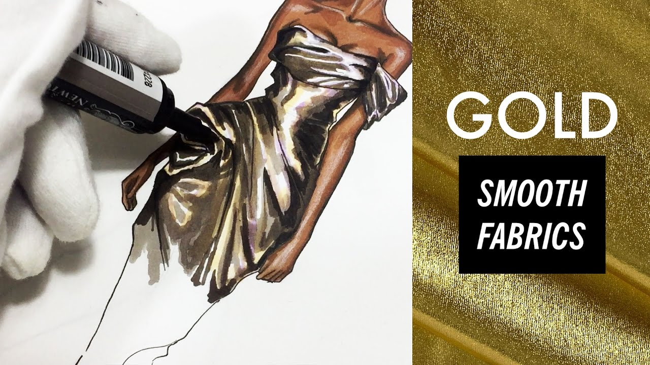 a9f87b14b1 How to draw GOLD FABRIC: SMOOTH TEXTURES. Marchesa | Fashion Drawing ...