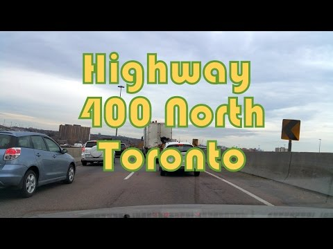 Winter Driving on Highway 400 North from Toronto to Vaughan (Black Creek to Major Mackenzie), Canada