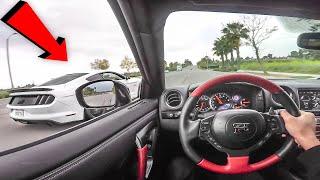 NISSAN GTR VS 5.0 MUSTANG!! - POV DRIVE! (STREET RACING!)