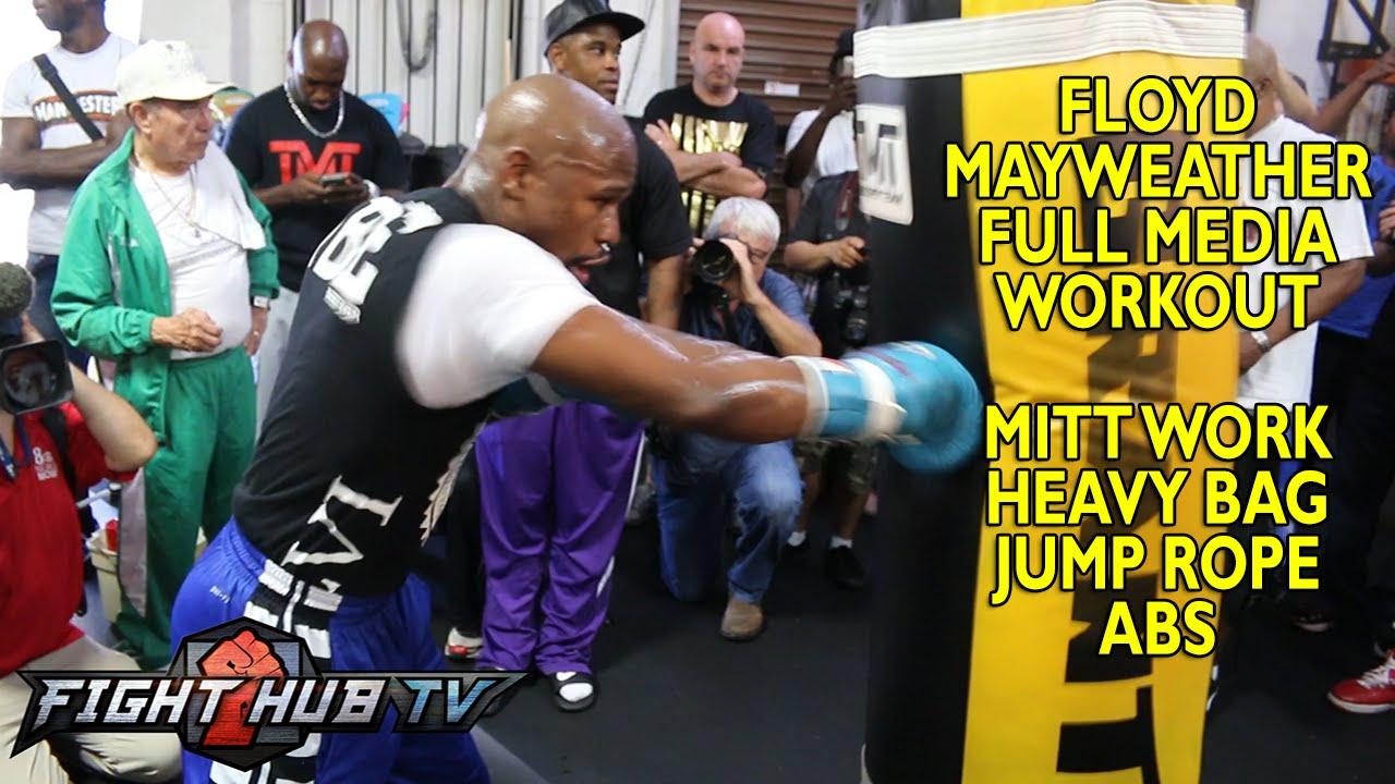 Mayweather vs. Maidana 2- Floyd Mayweather full workout: Mitts +speed bad+ heavy bag