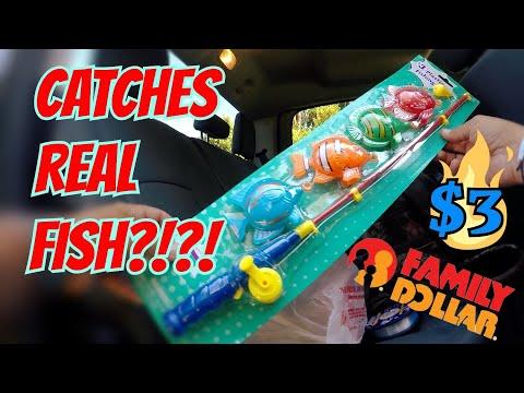 KIDS TOY Fishing Rod CATCHES FISH!! Dollar Store Fishing Challenge!! (SURPRISING!)