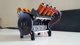 Solenoid engine V8 crossplane - with hall sensor and arduino
