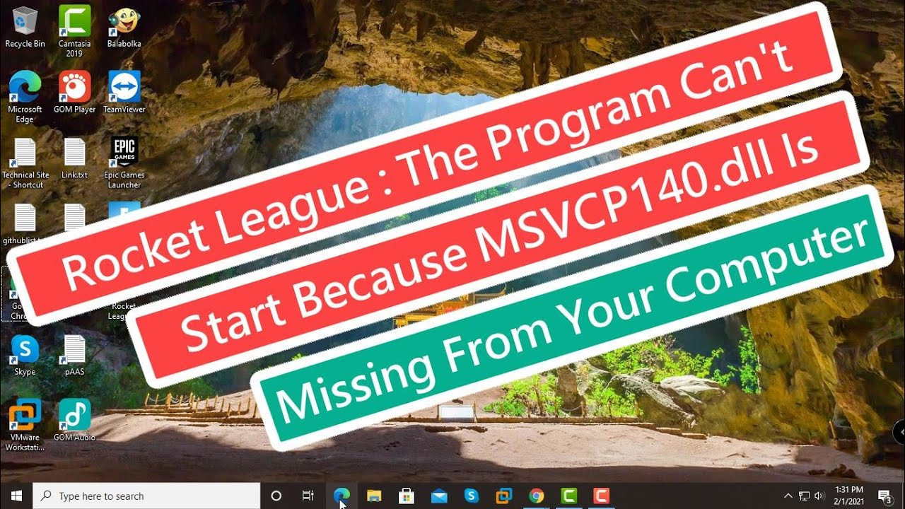 Rocket League : The Program Can't Start Because MSVCP140.dll Is Missing From Your Computer - YouTube