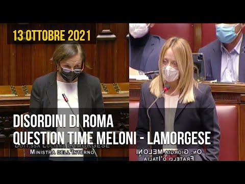 Question time del ministro Luciana Lamorgese con Giorgia Meloni