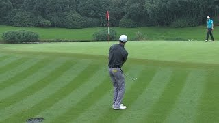 Haotong Li's chip rattles the flagstick at HSBC Champions
