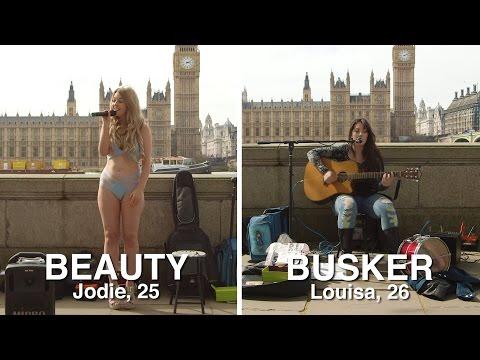 Talented busker vs bikini babe...who earned the most money?
