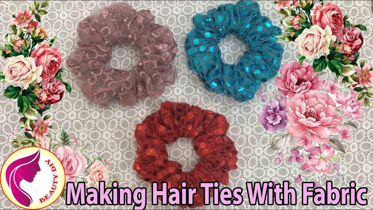 Making Hair Ties With Fabric   Làm Cột Tóc Vải   SCRUNCHIES   Beauty DIY