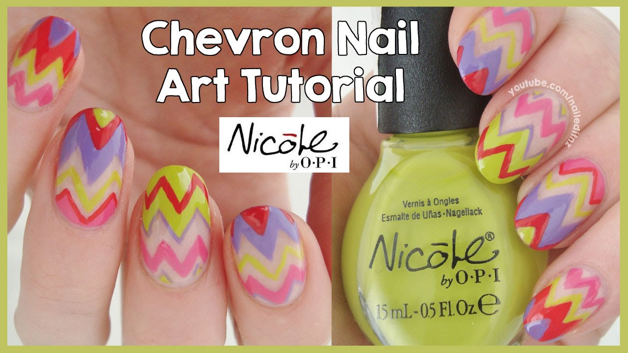 bright chevron nail art tutorial