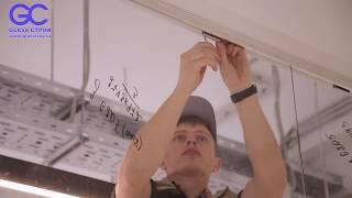 монтаж стеклянных перегородок в зажимном профиле для офиса