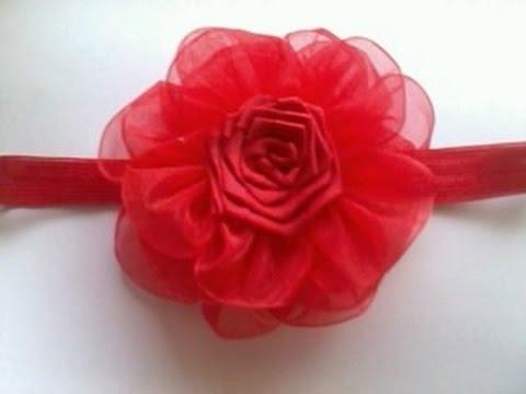 Como hacer una flor de organza muy facil no 35 youtube - Como hacer flores ...