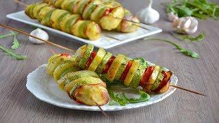 Овощи на шпажках в духовке