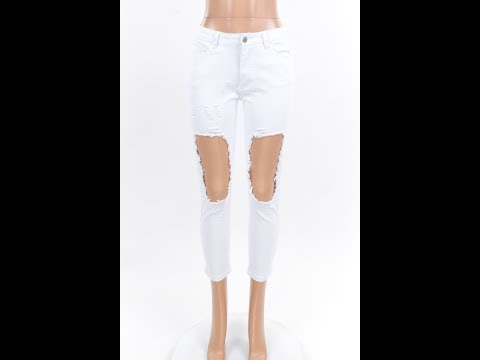 Plus Size White Ripped Out Hollow Sexy Jeans Wholesale