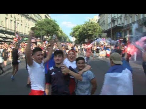 Supporters in Paris react to France World Cup win