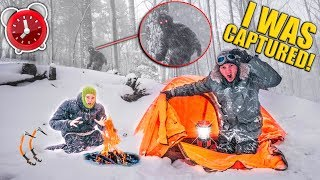 Captured By BIGFOOT!! 24 Hour Snowstorm Survival - Spy Gadgets, Fort Building (Sasquatch)