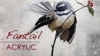 Painting a Fantail Bird in Acrylics