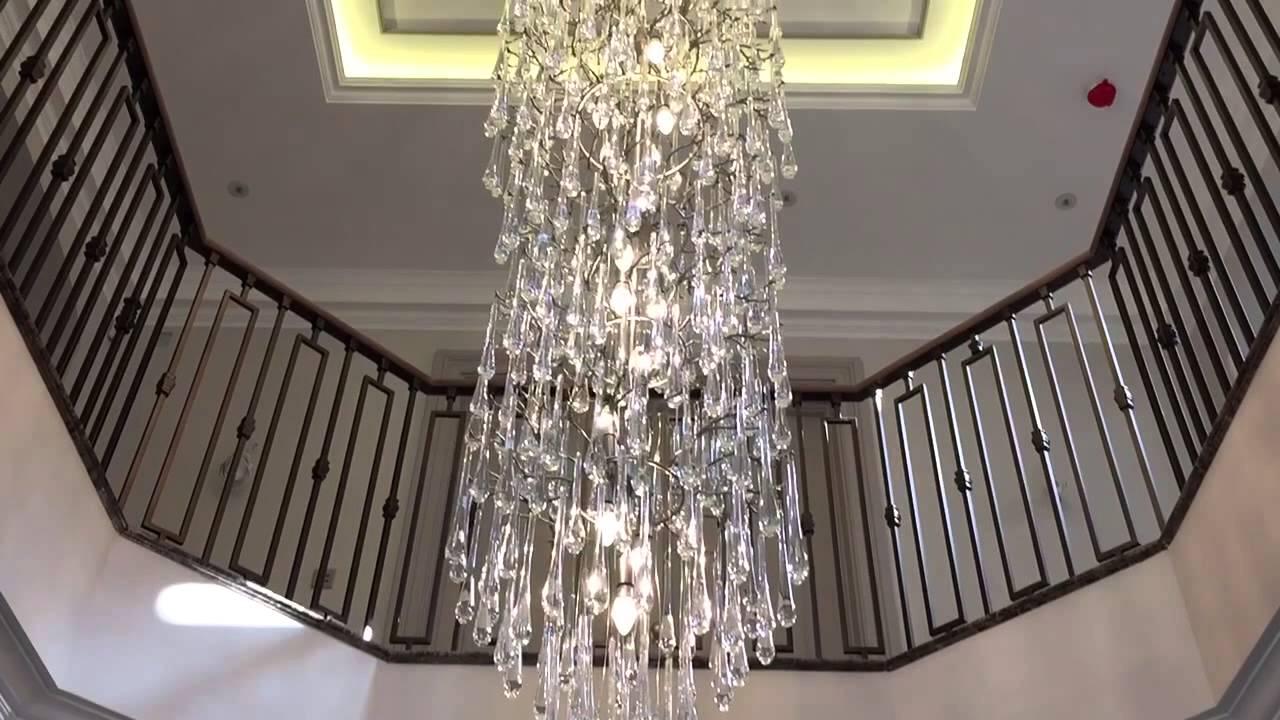 3 8m Custom Bespoke Brass Branch Twig Tree Chandelier With Glass Drops By First Class Lighting Ltd