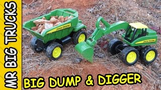 BIG SCOOP DIGGER AND TOY DUMP TRUCK FOR KIDS: MrBigTrucks101