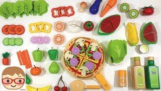 木のままごとセットと、ピザ、サラダのままごとセット!おもちゃで野菜や果物の名前を覚えよう♪ 20sarasa にーさら
