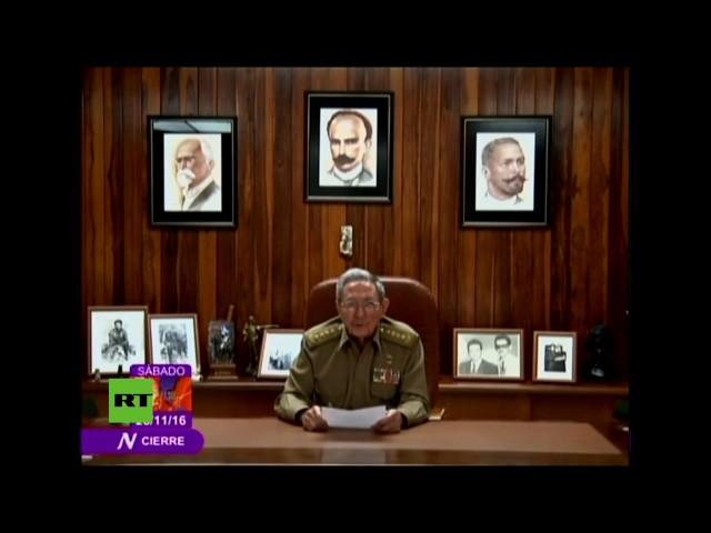 Histórico momento en que Raúl Castro anuncia la muerte de su hermano Fidel