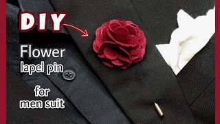 DIY Flower Lapel Pİn for men suit . / how to make a lapel pin for wedding. / Diy flower boutonniere.