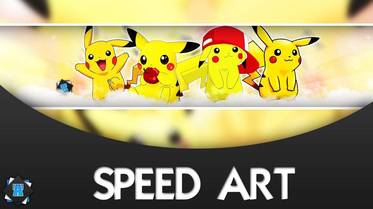 speed art  banni u00e8re youtube gratuit  7 - pikachu