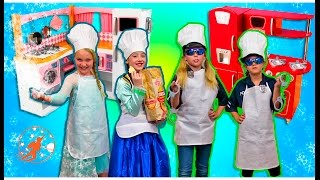 Kids Kitchen 4 - Frozen Elsa & Anna vs Kid Cops, Ice Cream Velcro Food & Toy Kitchen Pretend Cooking