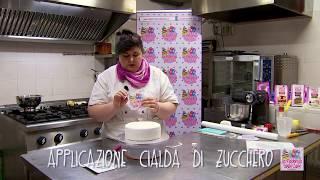 Come mettere la stampa in pasta di zucchero sulla torta - con TiaCake