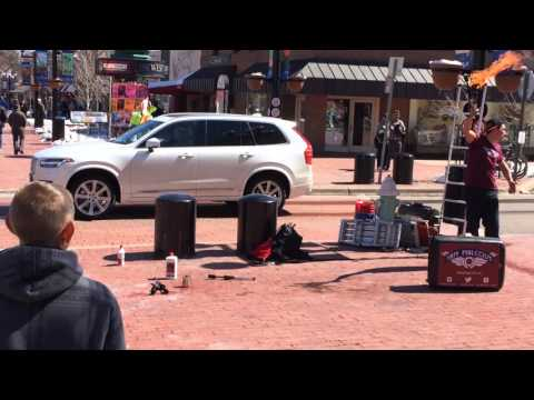 Comedy and juggling with Sam Malcolm on Pearl Street in Bolder CO on March 20 2016