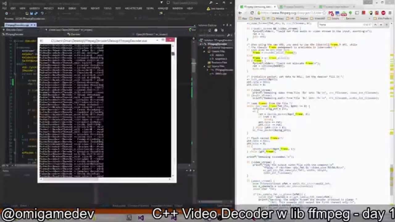 C++ Video Decoder with lib ffmpeg - day 1