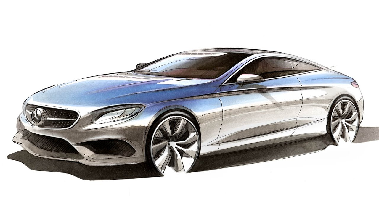 Car Design Sketch Drawing Mercedes Benz S Class Coupe Youtube
