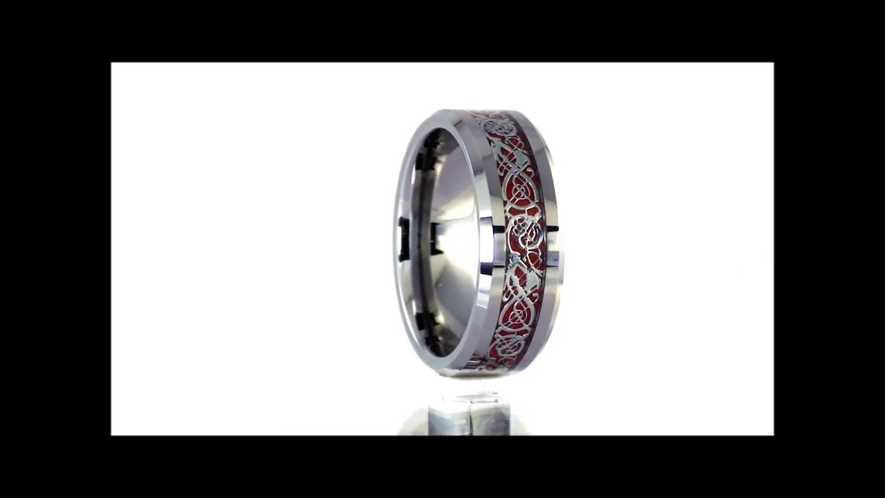 tungsten silver celtic dragon ring red carbon fiber wedding band