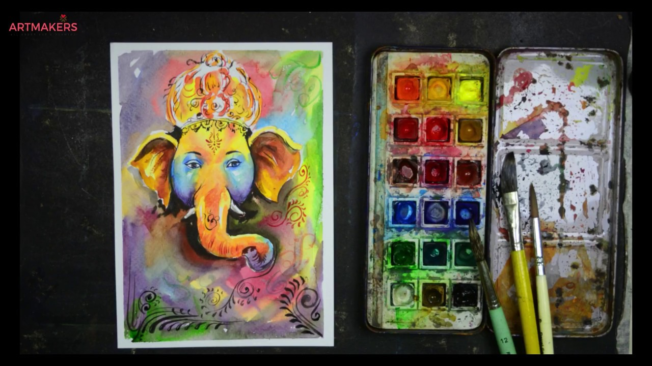 Ganesh Chaturthi Special Watercolor Painting Lord Ganesha Youtube