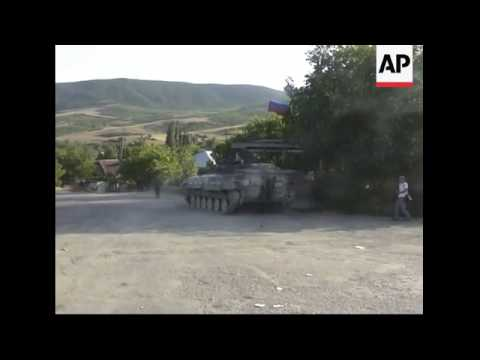 Convoy of Russian army vehicles on road from Gori to Tbilisi