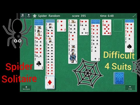 Spider solitaire gameplay (4 suits)