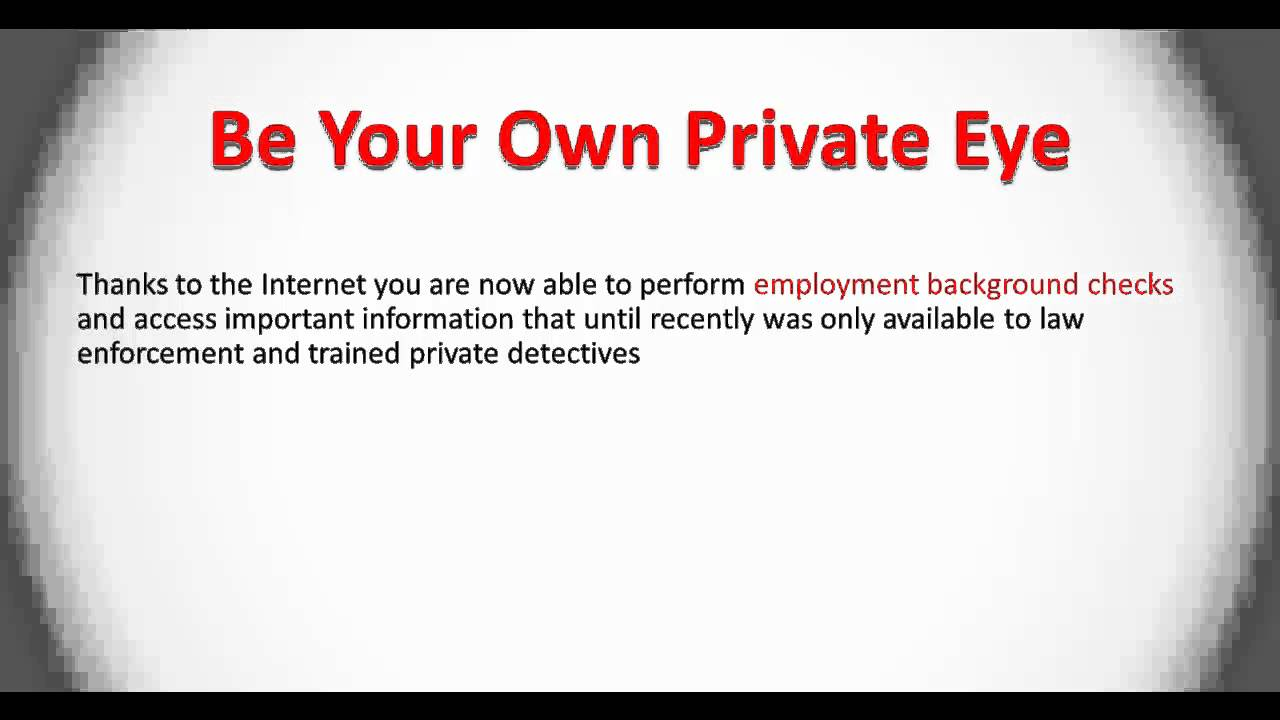 Employment Background Check - How To Do Your Own - YouTube