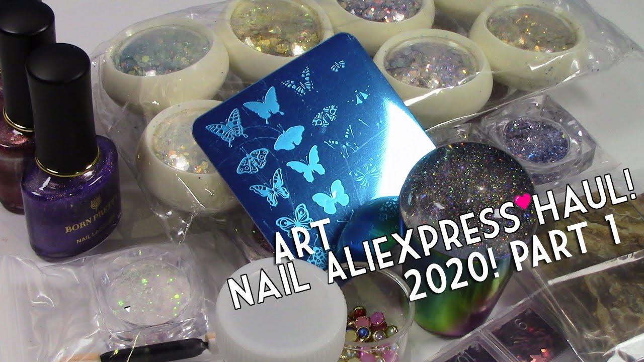 Aliexpress Nail Art Haul 2020! LOTS of Nail Glitter! Holographic Polishes! Nail Foils! + More!