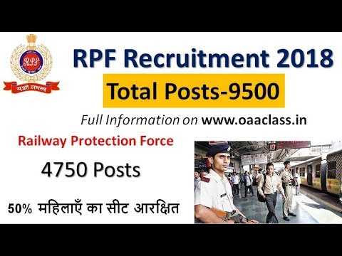 RPF Recruitment 2018,Total Posts-9500 Upcomming RPF Vacancy 2018