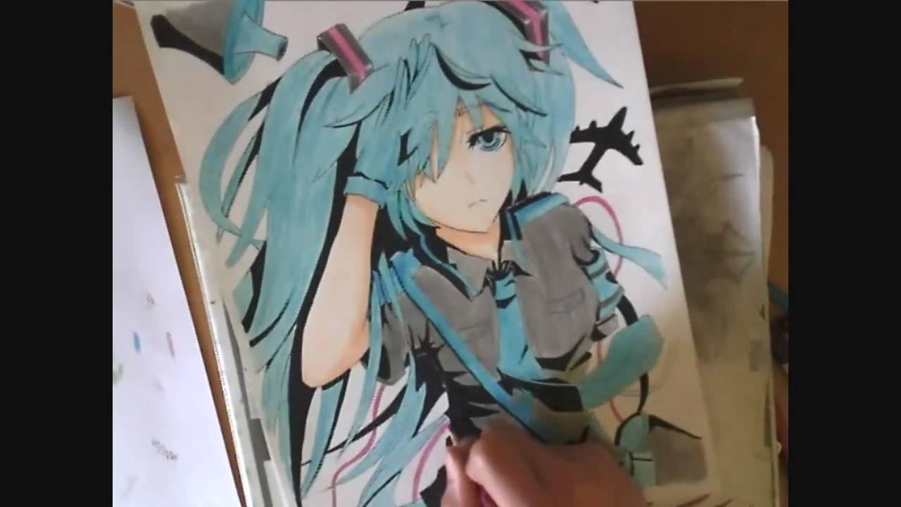 Drawing Hatsune Miku - YouTube Hatsune Miku Drawing Markcrilley