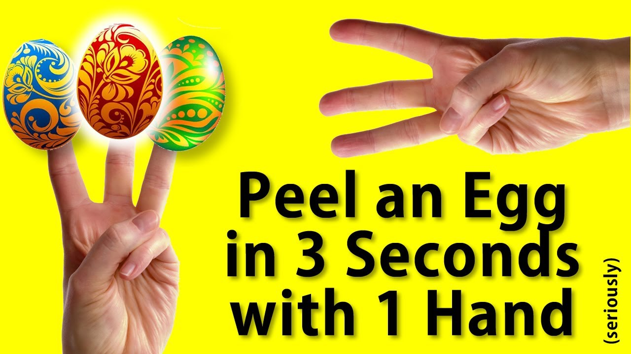 How To Peel Hardboiled Eggs Without Peeling  3 Seconds, 1 Hand Version   Youtube