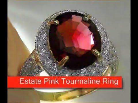 Circa 1920 S Estate 5 50 Carat Pink Tourmaline Amp Diamond