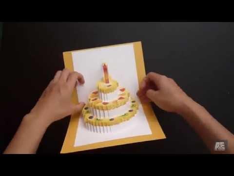 Thiệp sinh nhật handmade hình bánh kem siêu kute