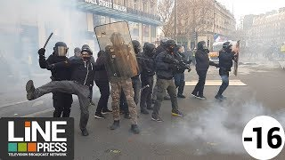 Gilets jaunes Acte 12 - Incidents et blessés en fin de manif / Paris - France 02 février 2019