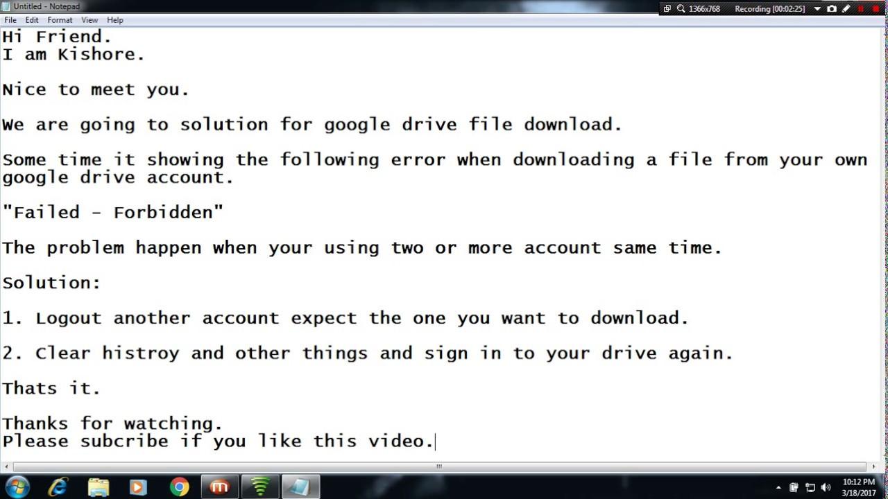 Google Drive Download Error \
