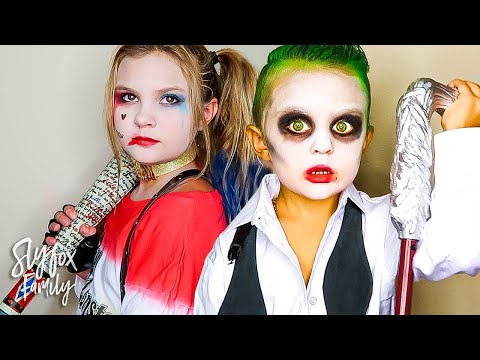 KIDS BECOME REAL LIFE SUICIDE SQUAD HARLEY QUINN AND THE JOKER DRESS UP!! | Slyfox Family
