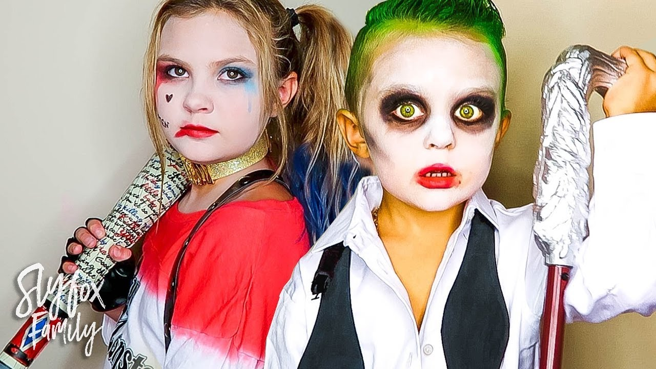 KIDS BECOME REAL LIFE SUICIDE SQUAD HARLEY QUINN AND THE JOKER DRESS UP!! | Slyfox Family  sc 1 st  YouTube & KIDS BECOME REAL LIFE SUICIDE SQUAD HARLEY QUINN AND THE JOKER DRESS ...