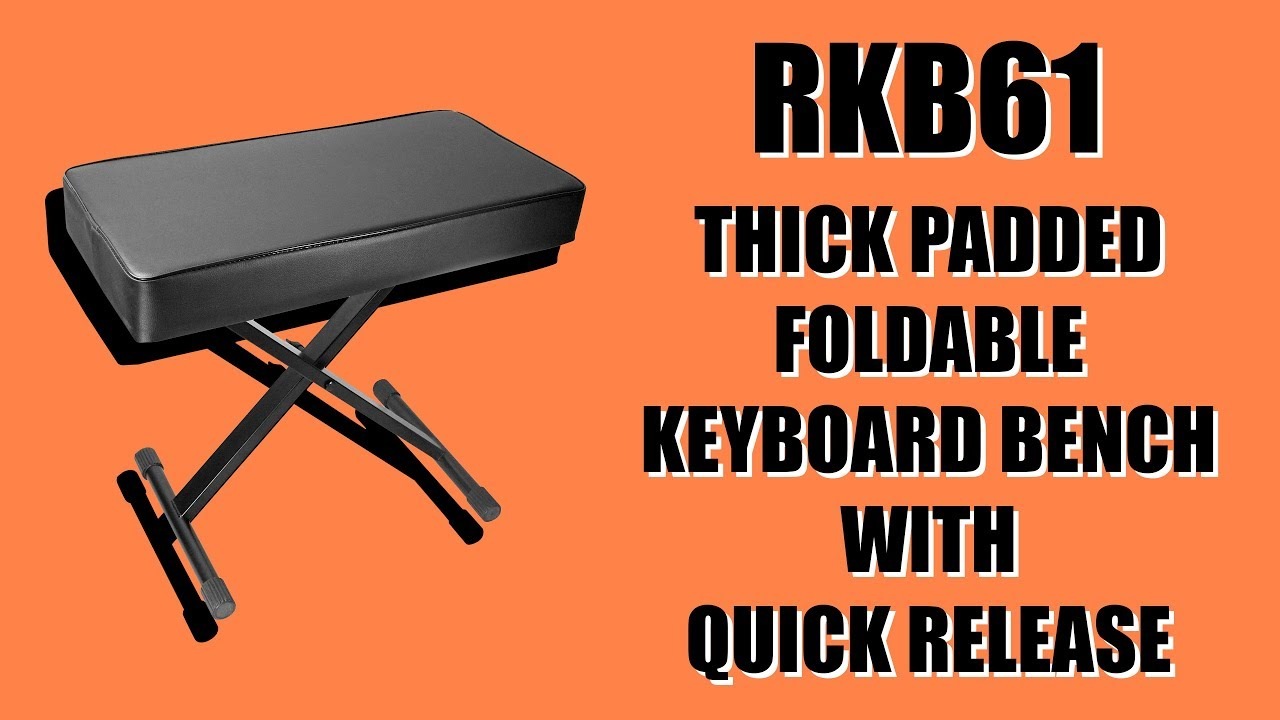 Rockville RKB61 Extra Thick Padded Foldable Keyboard Bench w// Quick-Release